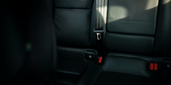 This image shows a seat belt in a car.